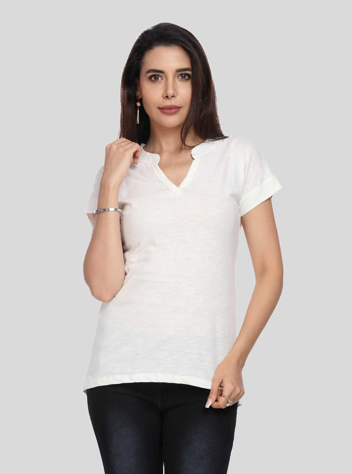 Band collar Womens Top - White