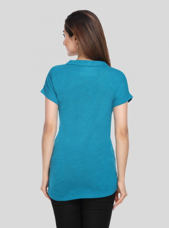 Band collar Womens Top - Teal Green