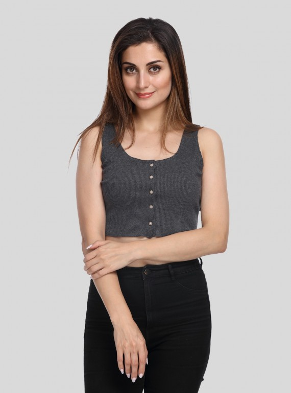 Charcol Melange Durby Crop top