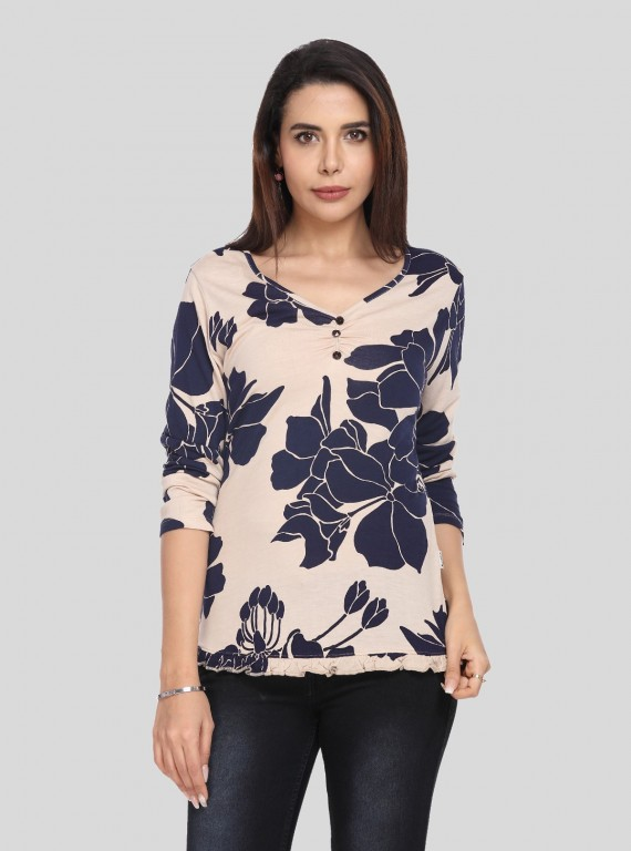 Ecru V Neck Floral Top