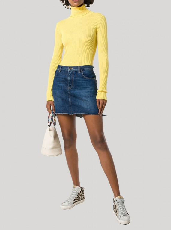 Yellow Turtle Neck Top