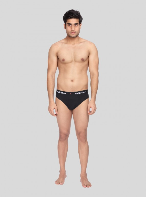 Black Fancy Elastic Brief