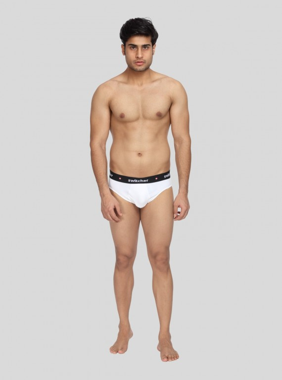 White Fancy Elastic Brief