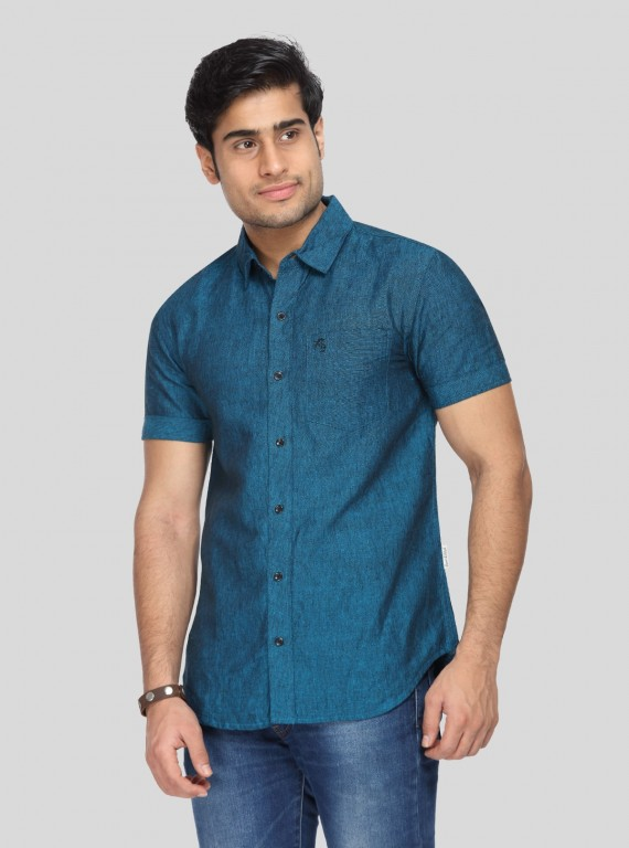Solid Linen Steel Blue shirt