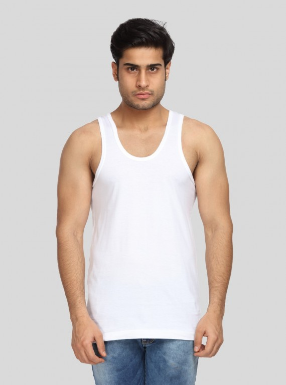 White Cotton Jersey Vest