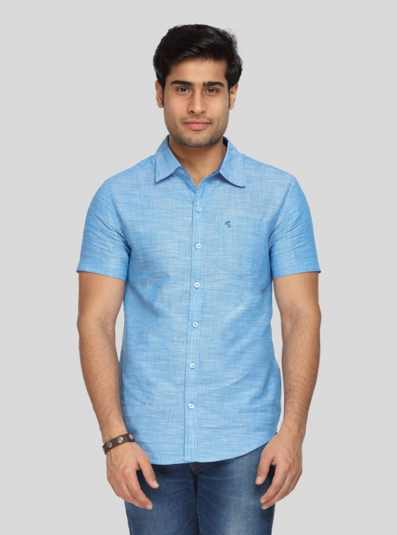 Light Blue Solid Slim Fit Shirt