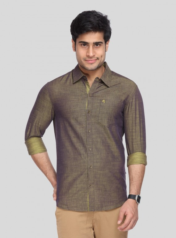Yellow Slim Fit Full Sleeve Shirt
