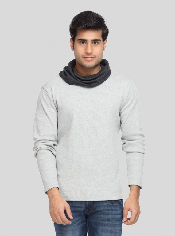Grey Melange Roll Neck Hoody