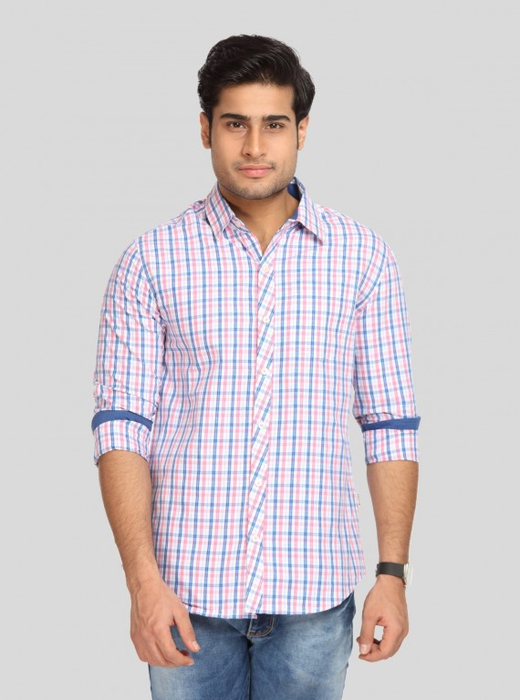 Fushia Checked Slim Fit Full Sleeve Shirt