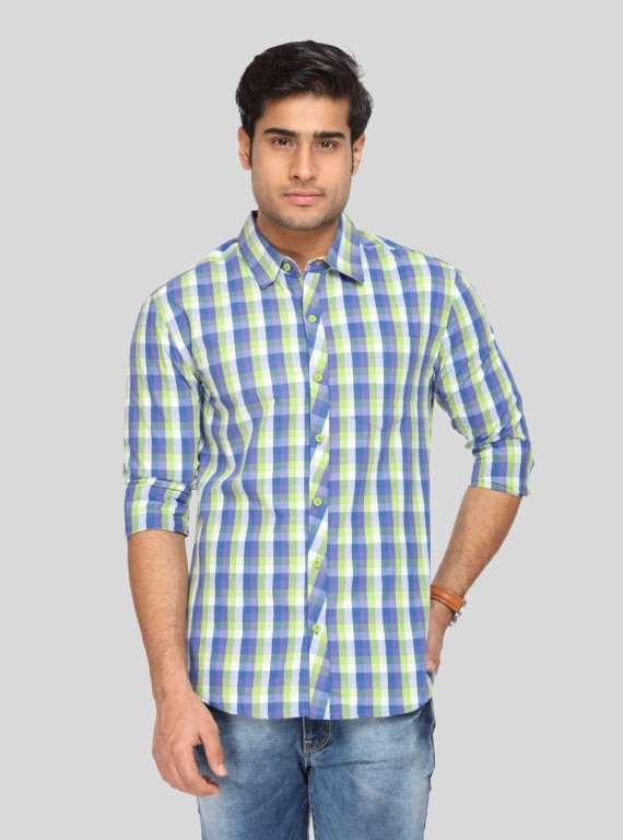 Light Green Checked Full Sleeve Shirt