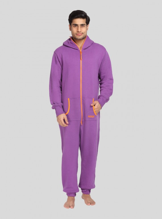 Purple Fleece Jumpsuit for Men