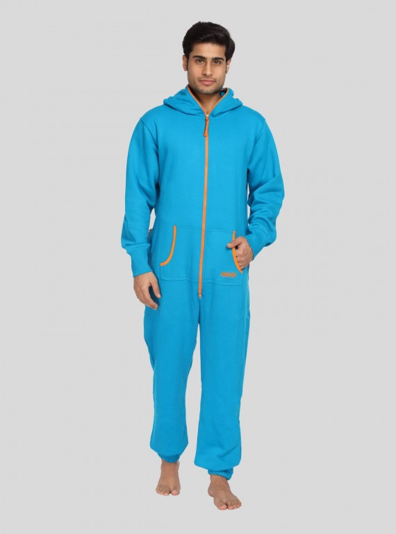 Blue Fleece Jumpsuit for Men