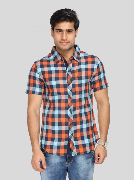 Orange Multi Check Slim Fit Shirt