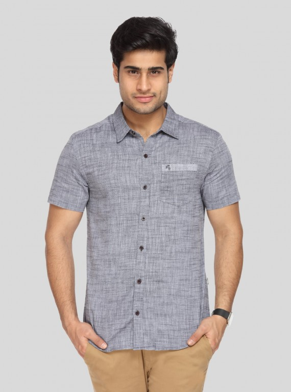 Light Grey Solid Slim Fit Shirt