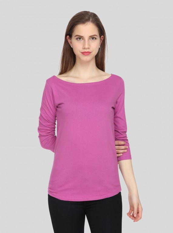 Womens Long Sleeve Fuchsia TShirt