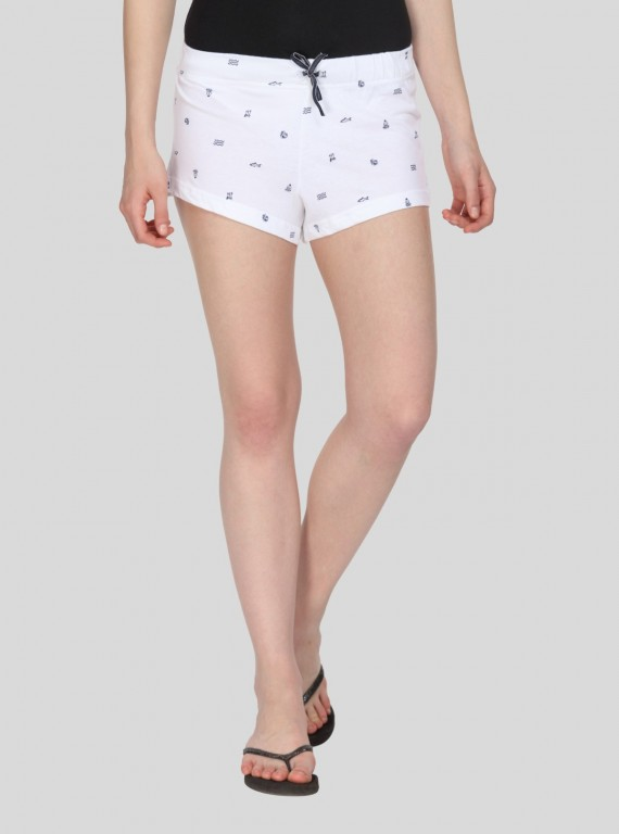 White Graphic Print Womens Shorts