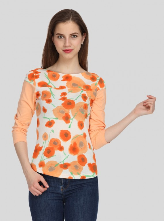 Orange Floral Womens Top