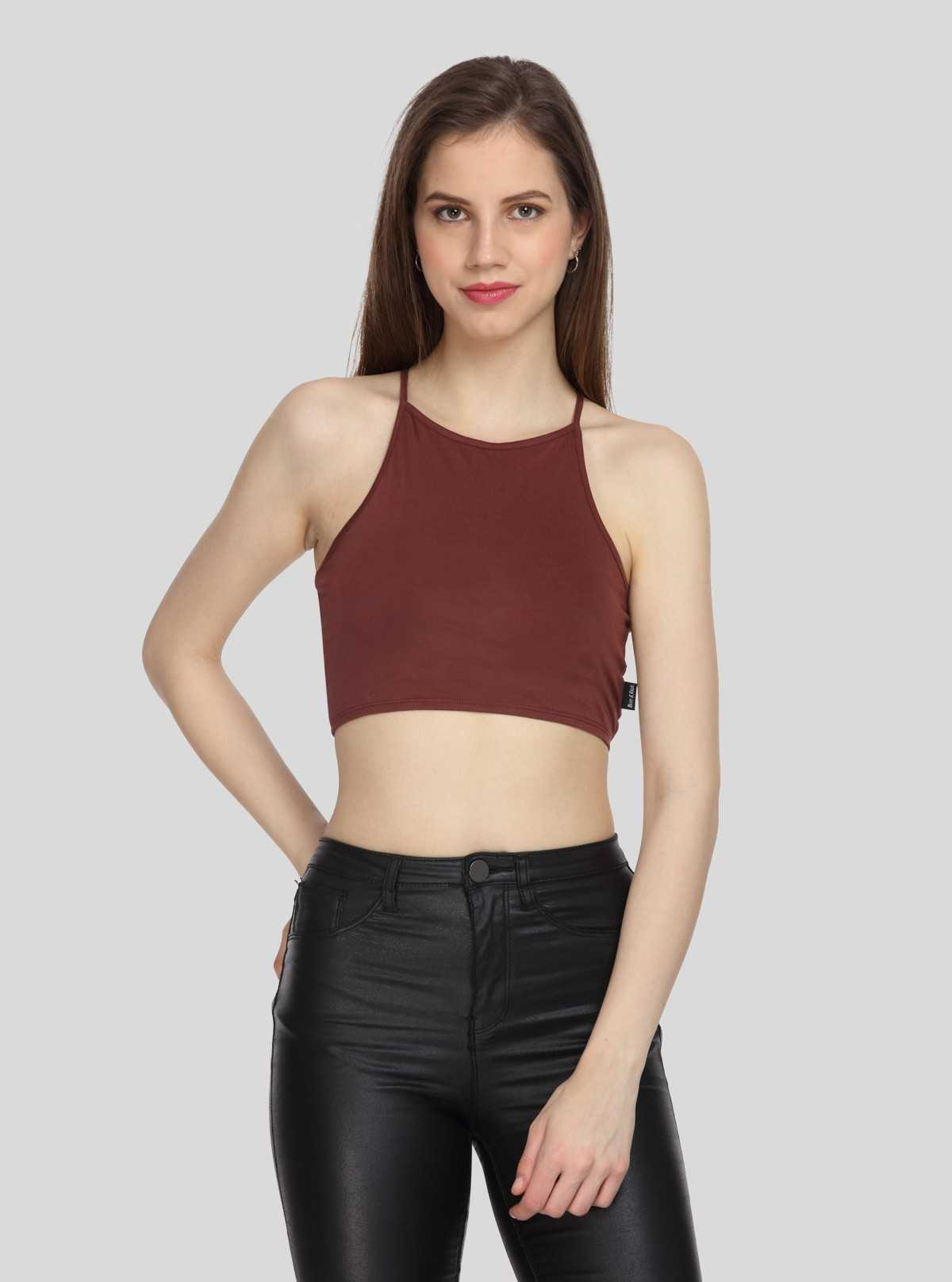 Burgundy Jersey Crop top