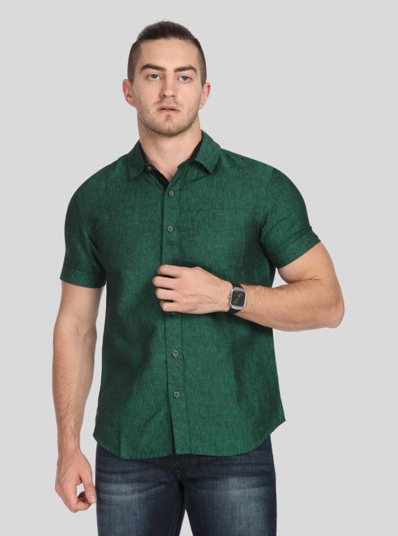 Green Linen blended Shirt