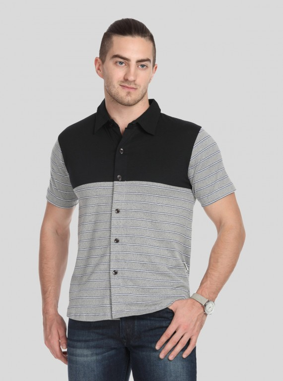 Black Melange Stripe Polo TShirt