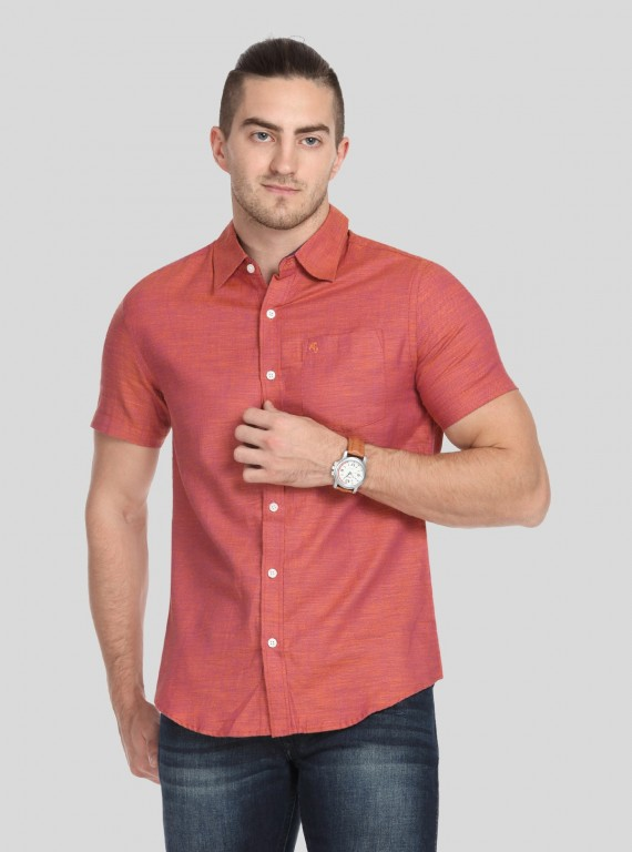 Orange Solid Slim Fit Shirt