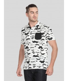 Mustache Print Self Collar Polo TShirt