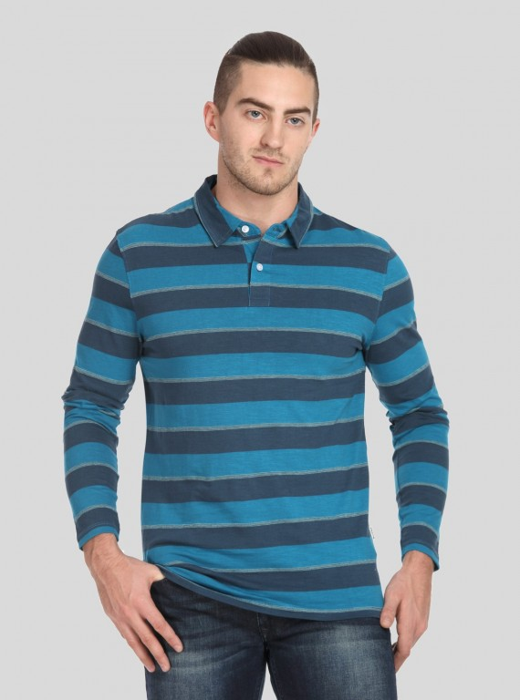 Blue Stripe Long Sleeve Polo TShirt