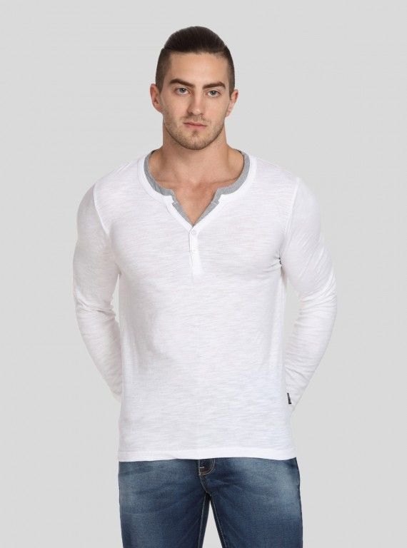 White Neck Binding Henley TShirt