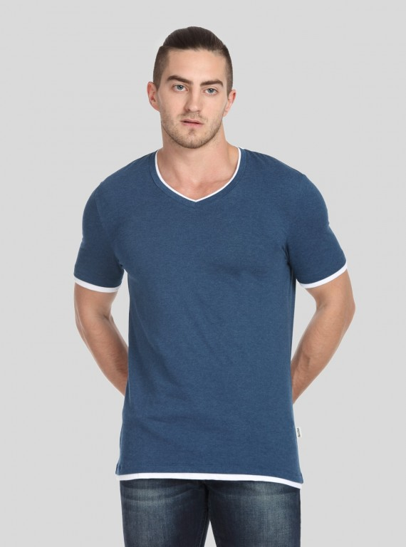 Blue Contrast Tipped V Neck TShirt