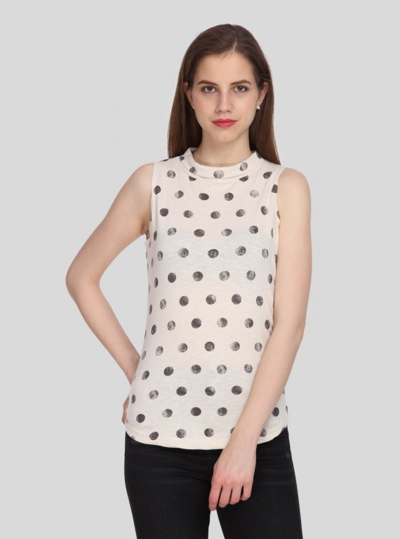 Dot Print High Neck Top