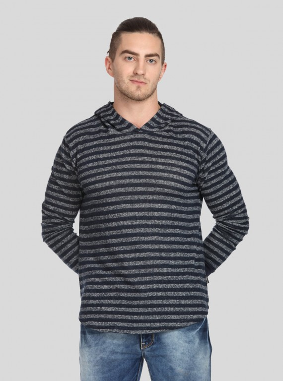 Navy Stripe Hooded Sweat Shirt
