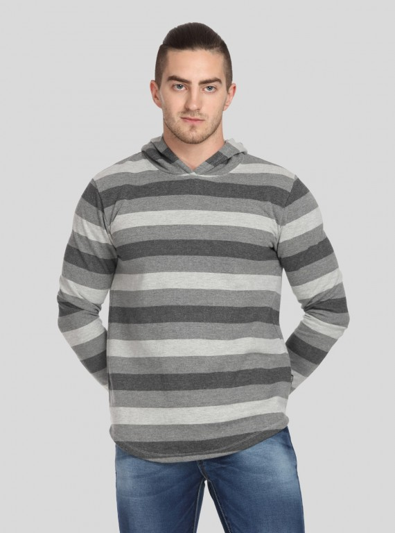 Melange Stripe Hooded Sweat Shirt
