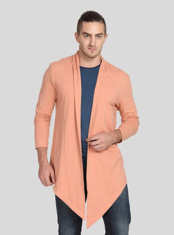 peach Jersey Long Line Cardigan