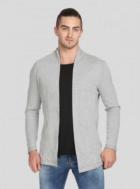 Grey Melange Cardigan