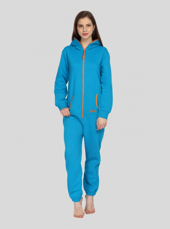 Blue Fleece Jumpsuit for Women
