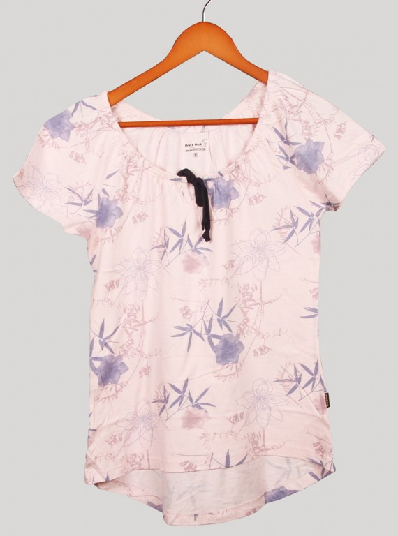 Pleatted Pink Floral Top
