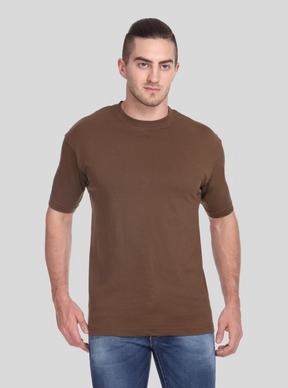 Brown Basic Crew Neck
