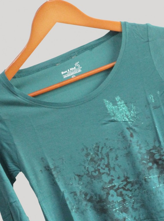 Womens Green Printed Top