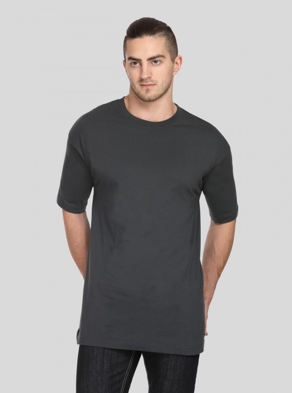 Dark Grey Basic Crew Neck TShirt