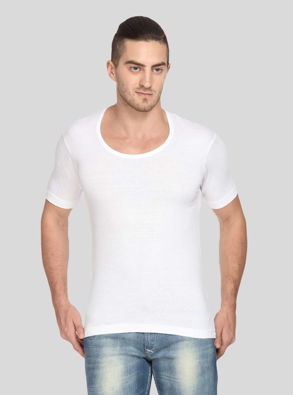 Men Cotton Jersey Vest - White