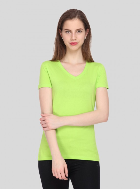 Lime Solid V Neck TShirt