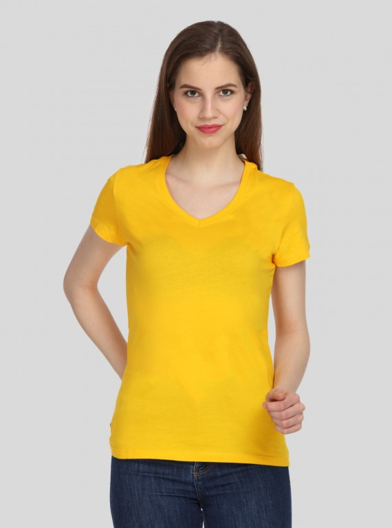 Yellow Solid V Neck TShirt