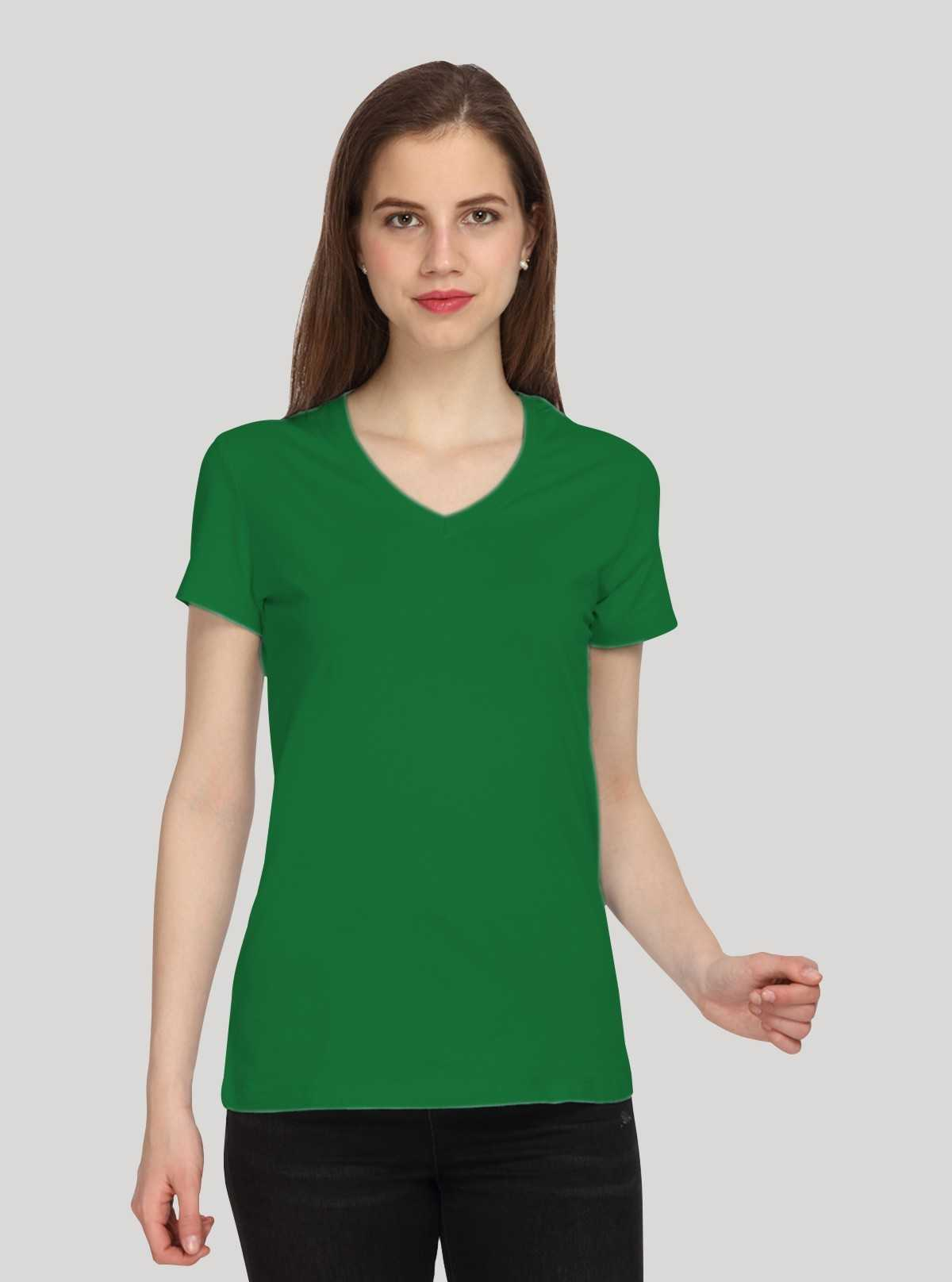 Green Solid V Neck TShirt