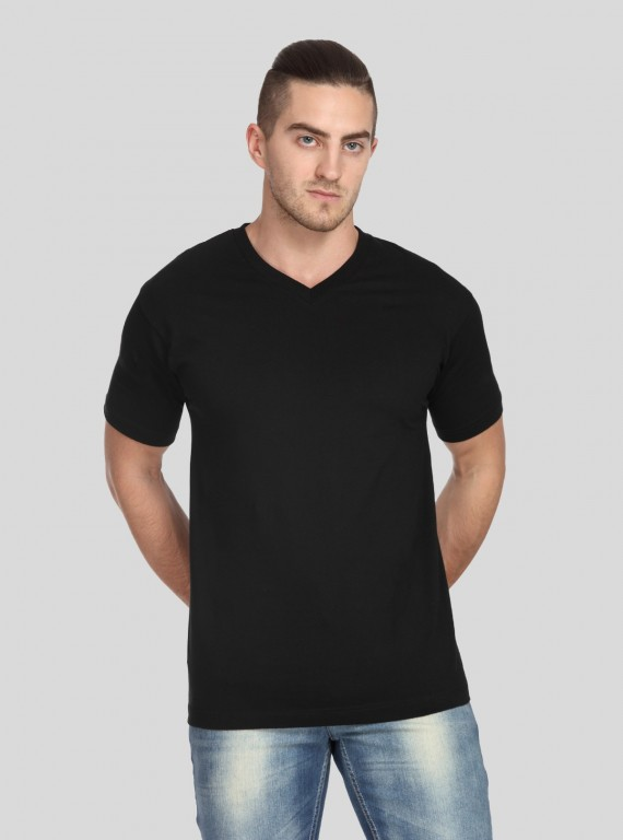 Black mens V Neck TShirt