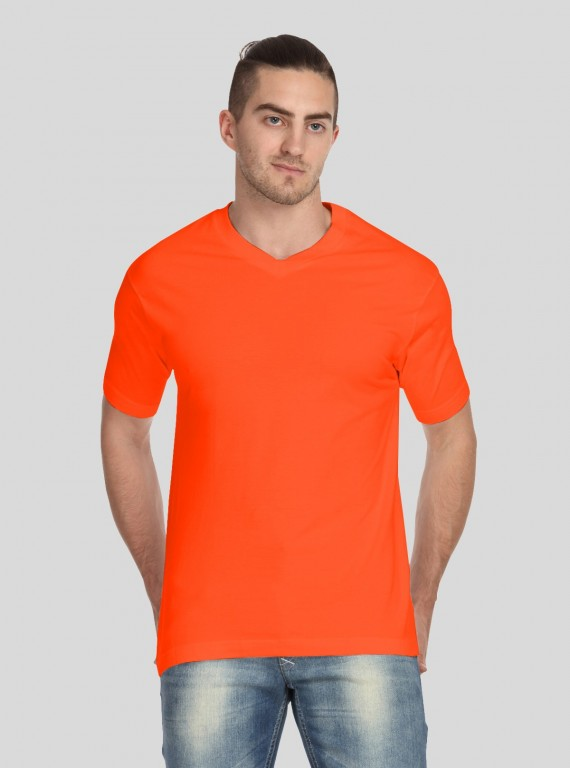 Orange V Neck TShirt