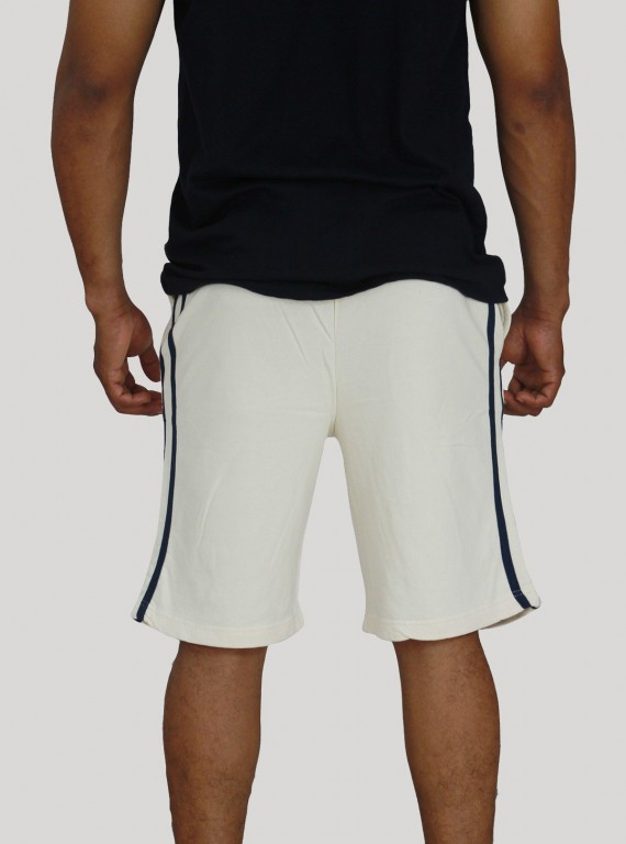 Ecru Piping Fleece Shorts