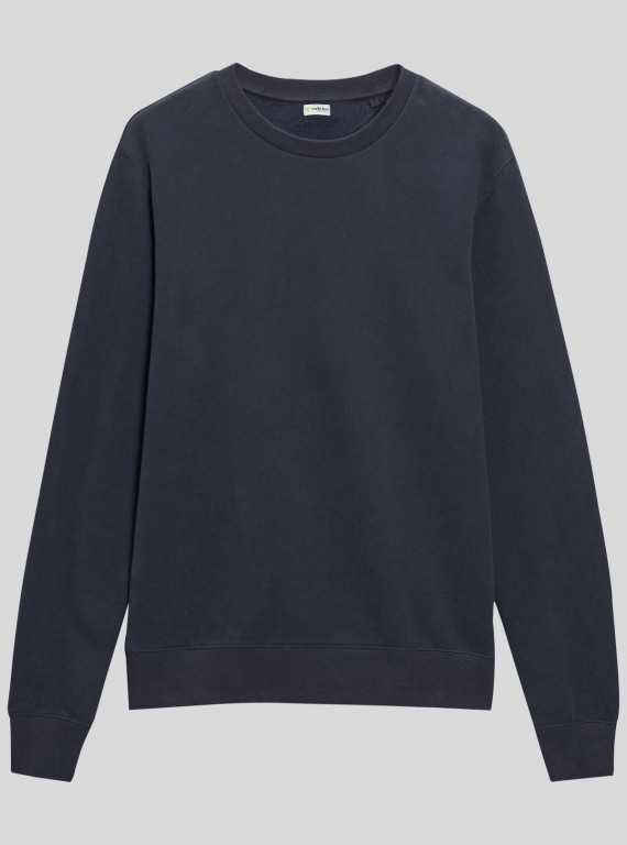 Navy Garment Dyed Sweat Shirt