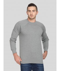 Grey Melange Raglon Fleece Sweat Shirt