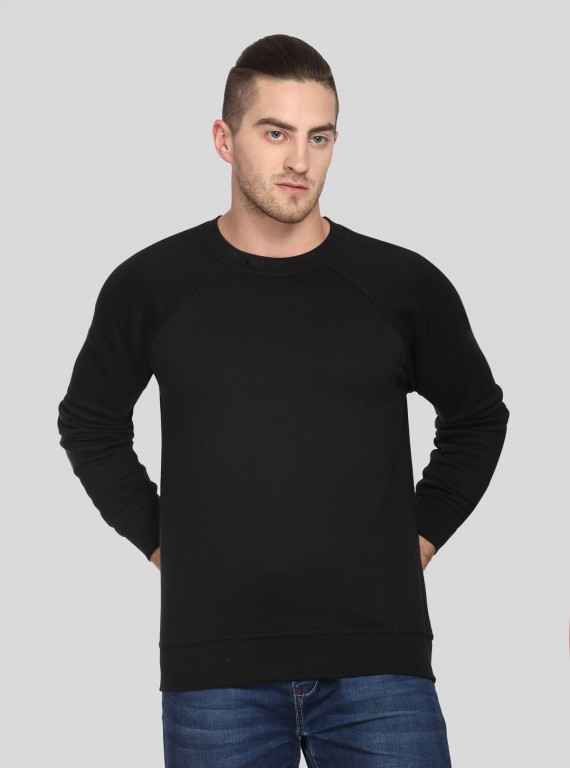 Black Raglon Fleece Sweat Shirt
