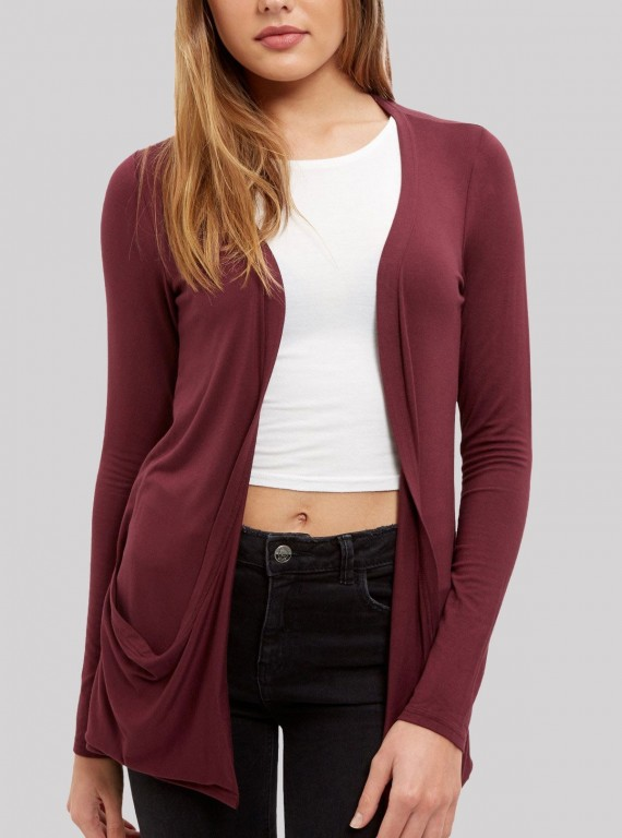 Burgundy Crushed Slub Shrug